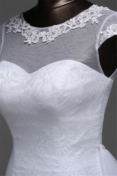 Glamorous Long Mermaid Jewel Lace Wedding Dress with Tulle Overskirt_7