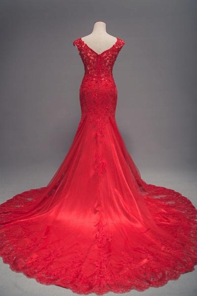 Red Lace Long Train Mermaid Cap Sleeve Prom Dress_3