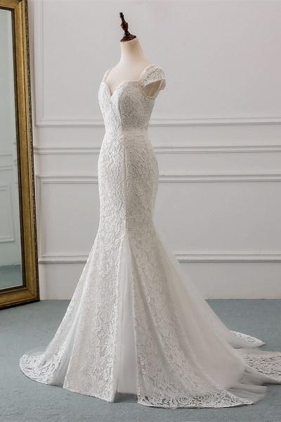 Elegant Long Mermaid Sweetheart Lace Wedding Dress with Cap-Sleeves_3