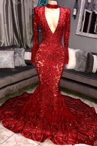 Marvelous High Neck Long Sleeves Mermaid Prom Dress_4