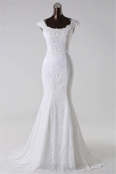 Gorgeous Long Lace Jewel Mermaid Lace-up Wedding Dress with Appliques