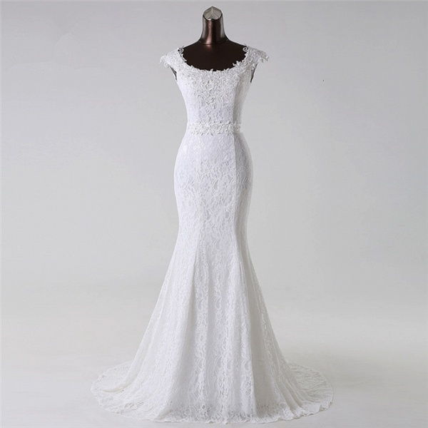 Gorgeous Long Lace Jewel Mermaid Lace-up Wedding Dress with Appliques_6
