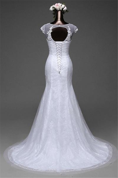 Glamorous Long Mermaid Jewel Lace Wedding Dress with Tulle Overskirt_2