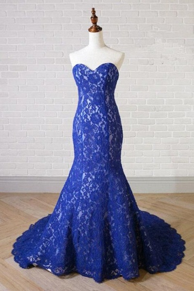 Sweetheart Neck Royal Blue Lace Long Mermaid Prom Dress