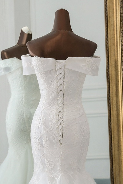 Long Mermaid Tulle Lace Off-the-Shoulder Lace-up Wedding Dress_6