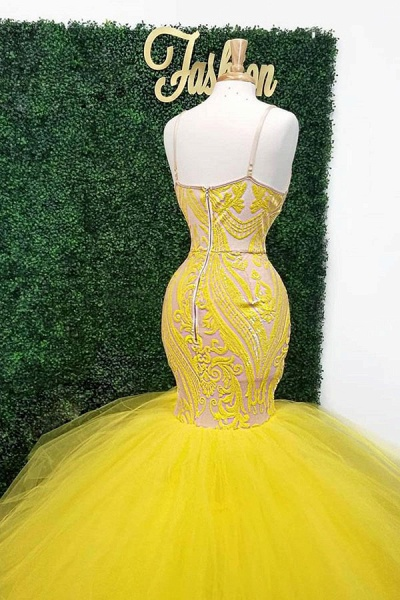 Yellow Deep V Neck Lace Appliques Mermaid Prom Dresses_2