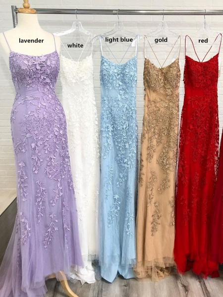 Mermaid Light Blue Prom Dress with Appliques Prom Dress_3