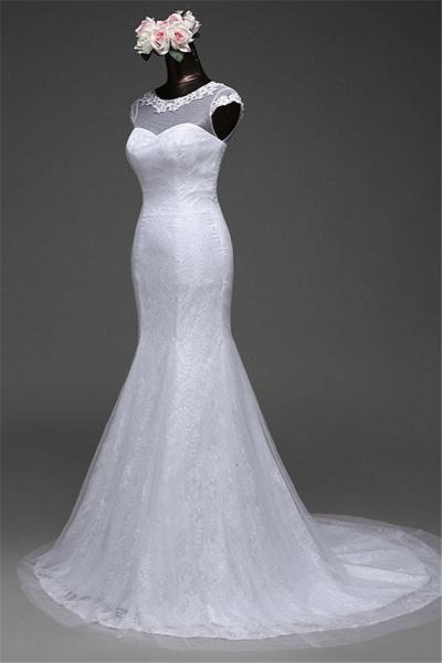 Glamorous Long Mermaid Jewel Lace Wedding Dress with Tulle Overskirt_3