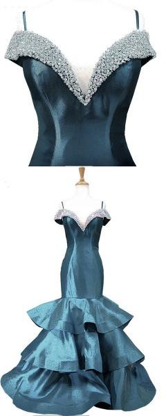 Blue Satin V Neck Spaghetti Long Layered Mermaid Prom Dress_4
