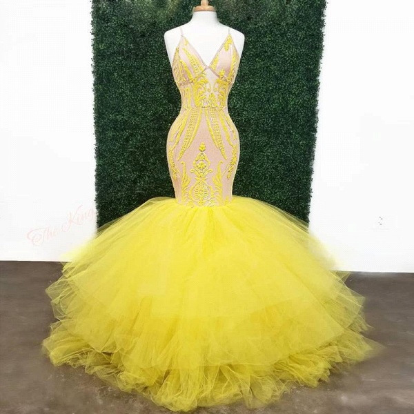 Yellow Deep V Neck Lace Appliques Mermaid Prom Dresses_3