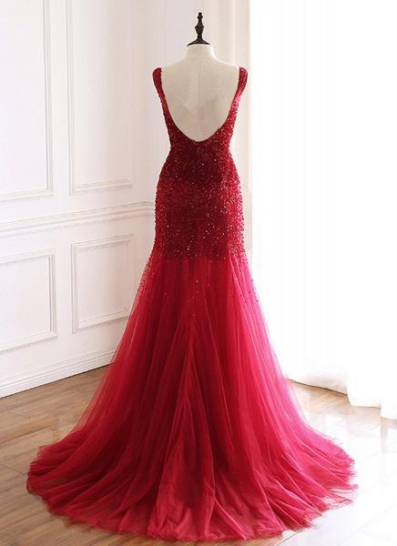 Burgundy Tulle Open Back Beaded Long Mermaid Prom Dress_2