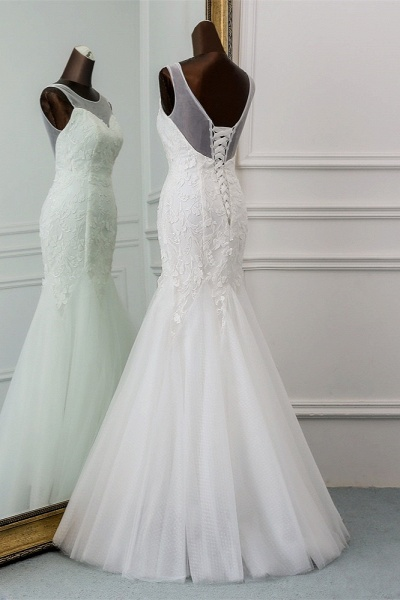 Popular Long Mermaid Jewel Tulle Backless Wedding Dress with Lace_4