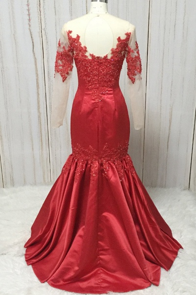 Red Satin Round Neck Long Mermaid Lace Prom Dress With Long Sleeve_2