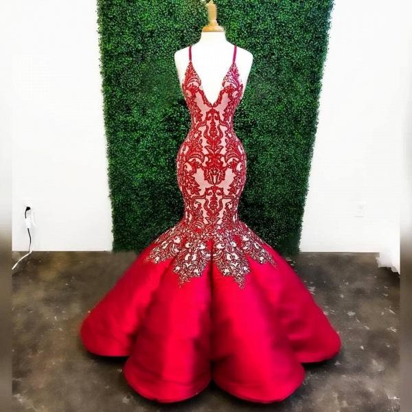 Red Mermaid Deep V Neck Lace Appliques Mermaid Prom Dresses_2