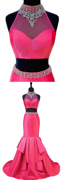 Hot Pink Backless Beaded Two Pieces Long Mermaid Evening Dress_4