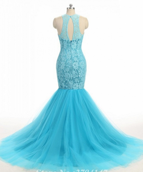 Baby Blue Lace O Neck Long Mermaid Prom Dress_2