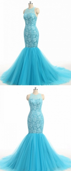 Baby Blue Lace O Neck Long Mermaid Prom Dress_4