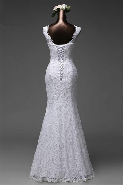 Affordable Long Jewel Floor-length Mermaid Lace Wedding Dress_2