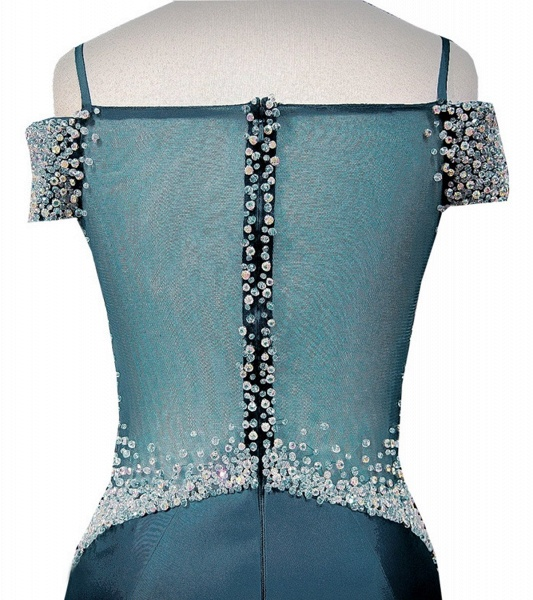 Blue Satin V Neck Spaghetti Long Layered Mermaid Prom Dress_3