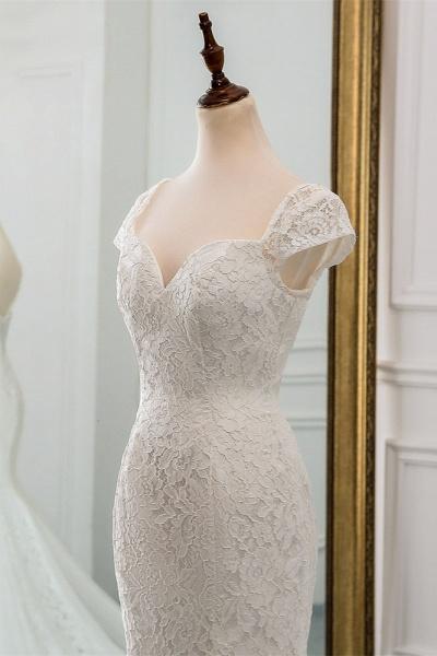 Elegant Long Mermaid Sweetheart Lace Wedding Dress with Cap-Sleeves_5