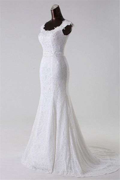 Gorgeous Long Lace Jewel Mermaid Lace-up Wedding Dress with Appliques_3