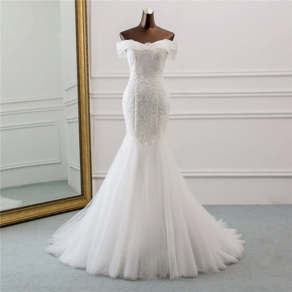 Long Mermaid Tulle Lace Off-the-Shoulder Lace-up Wedding Dress_7