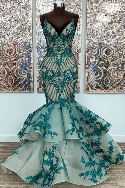 Green Lace Spaghetti Straps Long Mermaid Dress Tulle Prom Dress_1