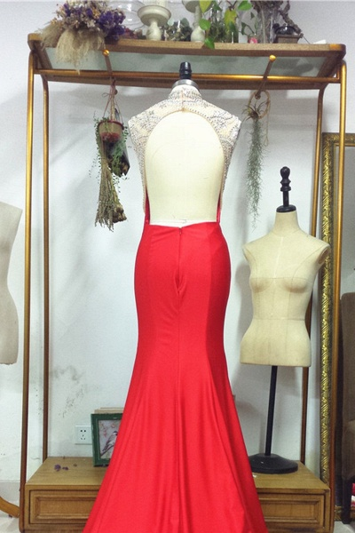 Backless Red with Crystals Sparkling Pageant Dresses Prom Dress_2