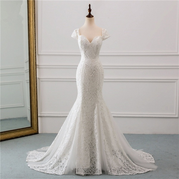 Elegant Long Mermaid Sweetheart Lace Wedding Dress with Cap-Sleeves_8