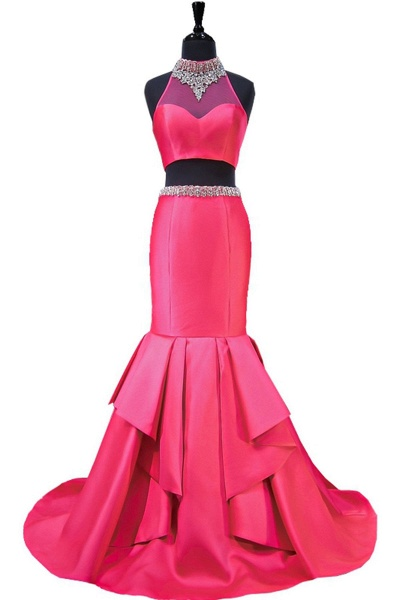 Hot Pink Backless Beaded Two Pieces Long Mermaid Evening Dress