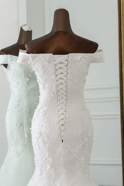 Gorgeous Long Tulle Off-the-shoulder Mermaid Lace-up Wedding Dress_5