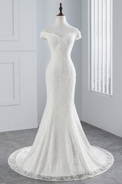 Elegant Long Mermaid Off-the-shoulder Floor-length Lace Wedding Dress