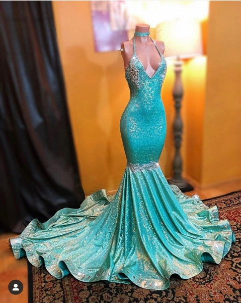 Simple Sparkly Sequined Mermaid Halter Sweep Strain Applique Prom Dresses_2