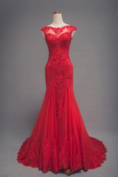 Red Lace Long Train Mermaid Cap Sleeve Prom Dress