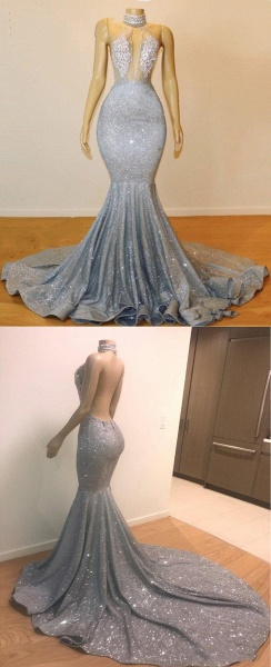 Blue Sequins Backless Long Mermaid Crystal Beaded Prom Dress_3
