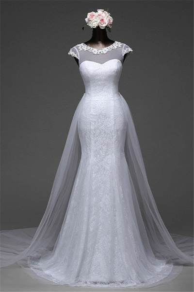 Glamorous Long Mermaid Jewel Lace Wedding Dress with Tulle Overskirt_5