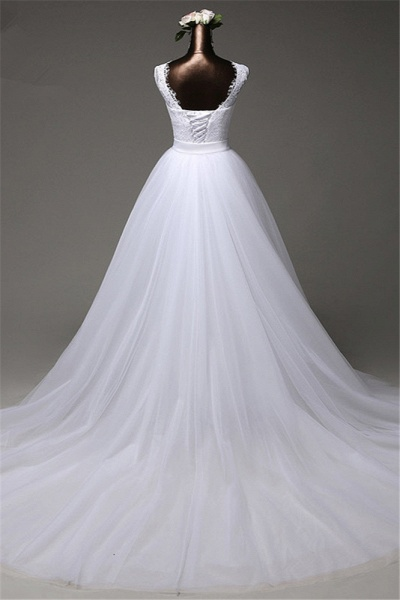 Chic Long Jewel Lace Wedding Dress With Overskirt_2