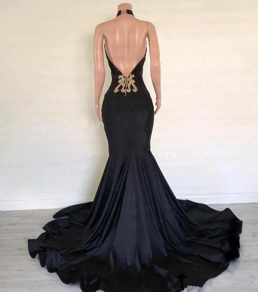Black Satin Long Mermaid Dress Customize Long Prom Dress_3
