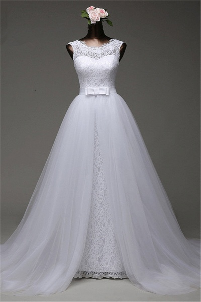 Chic Long Jewel Lace Wedding Dress With Overskirt