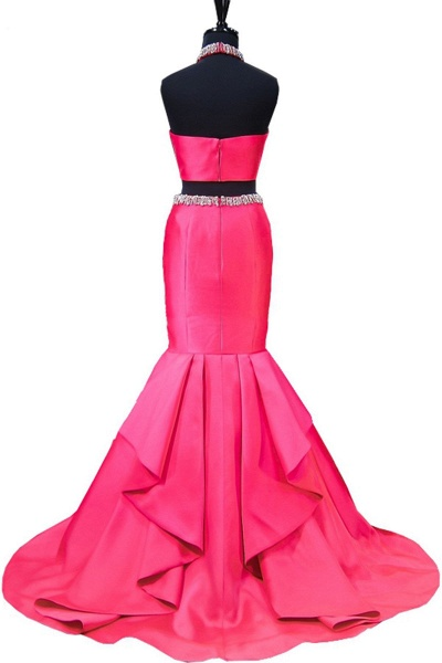 Hot Pink Backless Beaded Two Pieces Long Mermaid Evening Dress_2