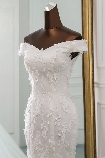Gorgeous Long Tulle Off-the-shoulder Mermaid Lace-up Wedding Dress_4
