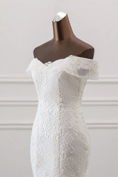 Long Mermaid Tulle Lace Off-the-Shoulder Lace-up Wedding Dress_5
