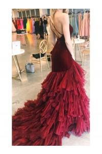 Burgundy Tulle Velvet Long Mermaid Dress Formal Prom Dress_3