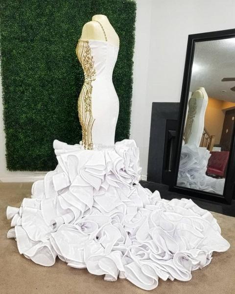 White Mermaid Gold Beading Plus Size Prom Dresses_3