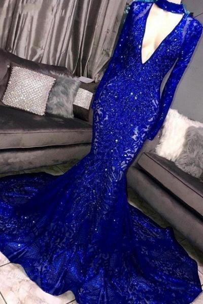 Marvelous High Neck Long Sleeves Mermaid Prom Dress_2
