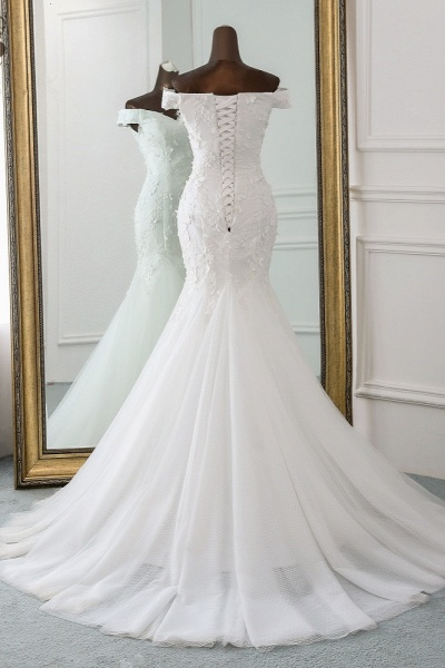 Gorgeous Long Tulle Off-the-shoulder Mermaid Lace-up Wedding Dress_2