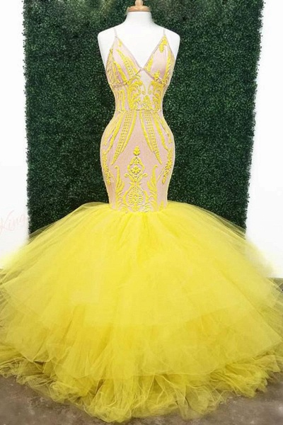 Yellow Deep V Neck Lace Appliques Mermaid Prom Dresses_1