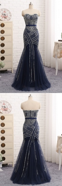 Navy Blue Tulle Sequins Strapless Long Mermaid Prom Dress_5