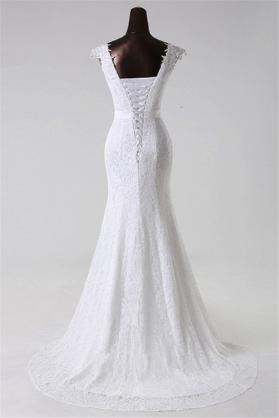 Gorgeous Long Lace Jewel Mermaid Lace-up Wedding Dress with Appliques_2