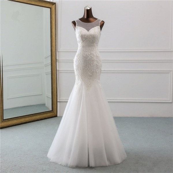 Popular Long Mermaid Jewel Tulle Backless Wedding Dress with Lace_7